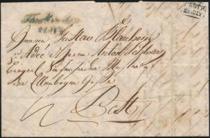 1845 Portós levél / cover with postage due, kék / blue Fünfkirchen - PESTH érkezési bélyegzővel / with arrival cancellation