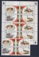 WWF Birds block of 4 + mini-sheet + 4 FDC, WWF Madarak négyestömb + kisív + 4 FDC