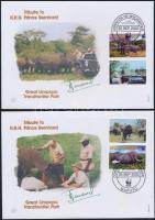 2002 WWF Afrikai szavanna elefánt szelvényes sor Mi 2393-2396 4 db FDC-n