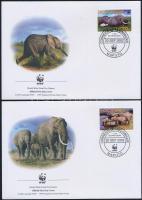 2002 WWF Afrikai szavanna elefánt sor Mi 2393-2396 4 db FDC-n