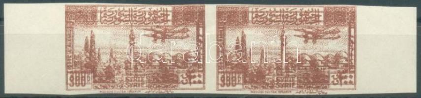 1946 Tájak, repülők 300P Mi 537 vágott pár kettős nyomattal / imperforate pair with double print
