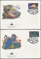 1986 WWF: Tengeri csigák és kagylók sor Mi 73-76 4 db FDC-n