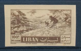 1957 Síelők 100Pia vágott bélyeg hátoldalra nyomott bélyegképpel Mi 589 / printed on the bacside, imperforate