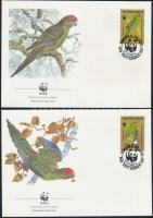 1987 WWF: Piroshomlokú kecskepapagáj sor Mi 421-424 4 db FDC-n