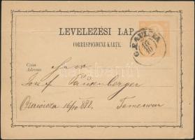 1872 2kr díjjegyes levelezőlap ORAVICZA - Temesvár