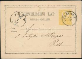 1872 2kr díjjegyes levelezőlap PERJÁMOS - PEST