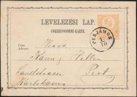1873 2kr díjjegyes levelezőlap PERJÁMOS - PEST