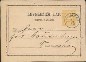 1873 2kr díjjegyes levelezőlap PERJÁMOS - Temesvár