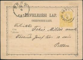 1871 2kr díjjegyes levelezőlap SOPR(ON) OEDENBURG - PEST