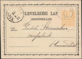 1873 2kr díjjegyes levelezőlap PETROSENY - NAGYSZEBEN