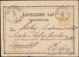 1873 2kr díjjegyes levelezőlap NAGYKÖRÖS - VERŐCZE VÁCZ- MELLETT