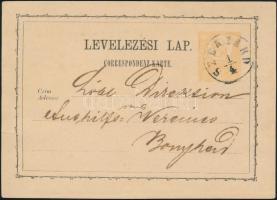 1873 2kr díjjegyes levelezőlap SZEGZÁRD