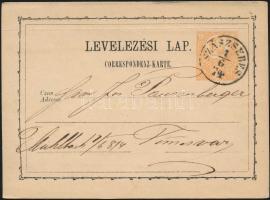 1874 2kr díjjegyes levelezőlap SZÁSZSEBES - Temesvár