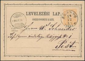 1873 2kr díjjegyes levelezőlap SZÁNTÓ/ABAÚJ M. - BUDAPEST