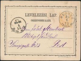 1873 2kr díjjegyes levelezőlap SZÁNTÓ/ABAÚJ M. - PEST
