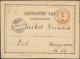 1874 2kr díjjegyes levelezőlap SZERENCS/ZEMPL. M. - BUDAPEST