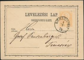 1874 2kr díjjegyes levelezőlap / PS-card SZEPES-SZOMBAT - Temesvár