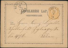 1873 2kr díjjegyes levelezőlap SZENICZ - WIEN