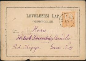 1873 2kr díjjegyes levelezőlap / PS-card TISZA LÖK - Pest