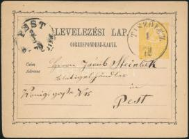 1872 2kr díjjegyes levelezőlap / PS-card TISZÓLCZ - RIMASZOMBAT - PEST
