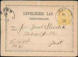 1872 2kr díjjegyes levelezőlap / PS-card TISZÓL(CZ) - RIMASZOMBAT - PEST