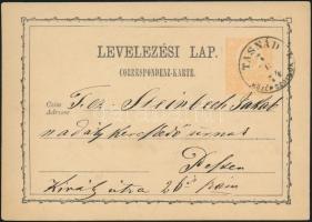 1873 2kr díjjegyes levelezőlap / PS-card TASNÁD/KÖZÉP SZOLNOK M. - BUDAPEST