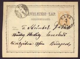 1874 2kr díjjegyes levelezőlap TATA - BUDAPEST
