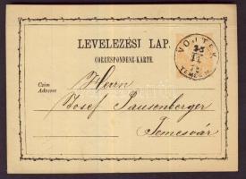 1874 2kr díjjegyes levelezőlap / PS-card VOJTEK/TEMES M. - TEMESVÁR
