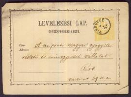 1872 2kr díjjegyes levelezőlap VINKOVCE - Pest (sérült)