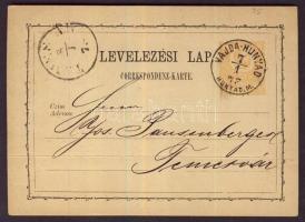 1873 2kr díjjegyes levelezőlap VAJDA-HUNYAD/HUNYAD.M. - Temesvár