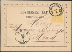 1871 2kr díjjegyes levelezőlap / PS-card VAJDA-HUNYAD - ARAD/VÁROS