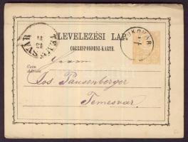 1873 2kr díjjegyes levelezőlap VUKOVÁR - TEMESVÁR
