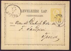 1874 2kr díjjegyes levelezőlap VERÖCE - TRIEST