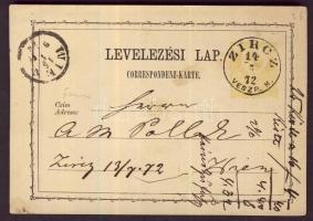 1872 2kr díjjegyes levelezőlap ZIRCZ/VESZP. M. - WIEN