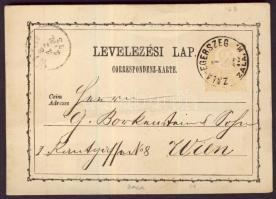 1873 2kr díjjegyes levelezőlap ZALA-EGERSZEG/ZALA. M. - WIEN