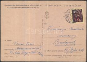 1945 (1. díjszabás) Kisegítő 40f/24f helyi levelezőlapon