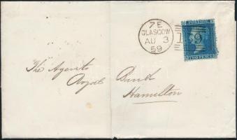 1859 Mi 17 (lemezszám 7) levélen GLASGOW - Hamilton