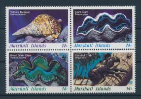1986 Kagylók és tengeri állatok négyestömb Mi 73-76
