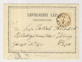 1874 díjjegyes levelezőlap 2kr MEZŐTÚR/KÜL.SZOLNOK M. - Pest
