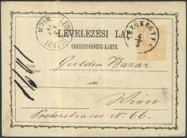 1874 díjjegyes levelezőlap / PS-card 2kr MEZŐHEGYES - LEOPOLDSTADT/WIEN