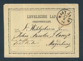 1874 díjjegyes levelezőlap 2kr MAGY.ÓVÁR - Magdeburg