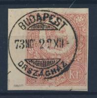 1871 5kr díjjegyes kivágás BUDAPEST ORSZÁGHÁZ