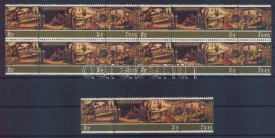 1975 Karácsony Mi 518-520 hármascsík + 4 hármascsíkot tartalmazó összefüggés