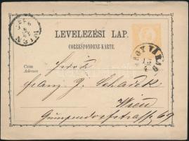 1873 2kr díjjegyes levelezőlap NAGY VÁRAD - WIEN