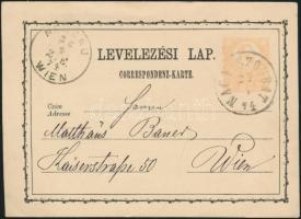 1874 2kr díjjegyes levelezőlap NAGY SZOMBAT - WIEN