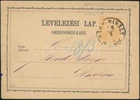1873 2kr díjjegyes levelezőlap NAGY-MIHÁLY/ZEMPL.MEGYE - KASSA