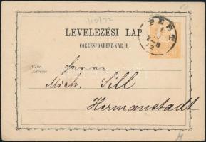 1872 2kr díjjegyes levelezőlap PEST- Hermanstadt