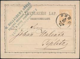 1873 2kr díjjegyes levelezőlap PEST- Teplitz
