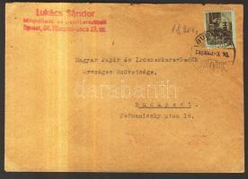 1946 (14. díjszabás) Betűs egyes bérmentesítés helyi levélen