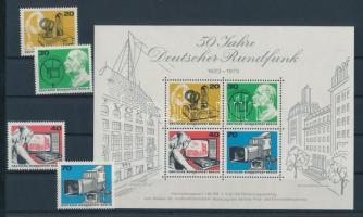 1973 50 éves a német rádió blokk Mi 4 + a blokkból kitépett bélyegek Mi 455-458